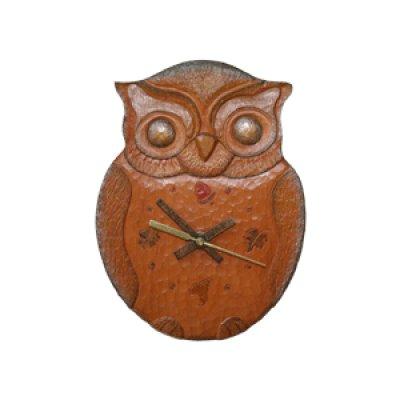 画像1: 針時計 フクロウ 朴材