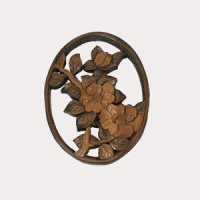 画像1: 椿のレリーフ小判型 (小) 朴材