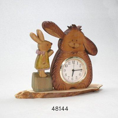 画像1: 置き時計 あのね!! 犬とウサギのおしゃれ時計  朴材