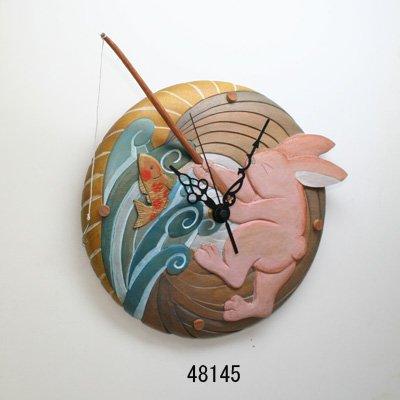 画像1: 釣うさぎの時計