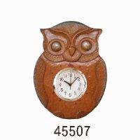 掛け時計フクロウ おしゃれ時計付 朴材