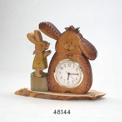 画像2: 置き時計 あのね!! 犬とウサギのおしゃれ時計  朴材
