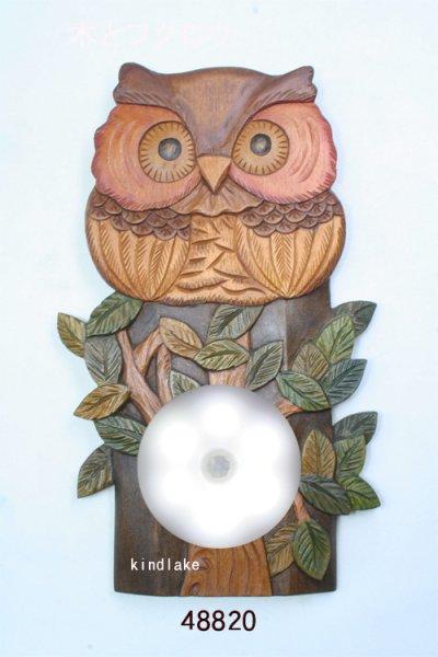 画像1: 灯りをください 木とフクロウ 朴材  (ライト付き)