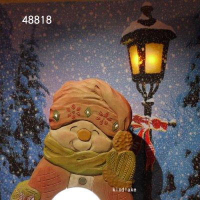 画像2: 灯りをください スノーマン 20mm 朴材  (ライト付き)