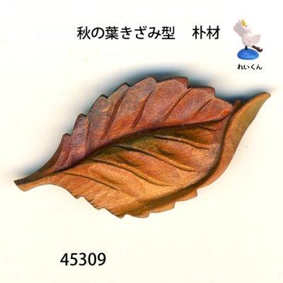 画像1: ブローチ 秋の木の葉(きざみ型) ピン付   朴材