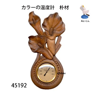画像1: 温度計 カラー 朴材