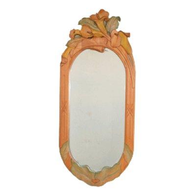 画像1: 掛け鏡 カラー 朴材 鏡付き