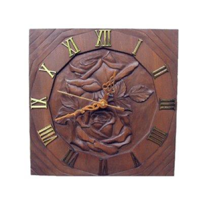 画像1: 針時計 バラ 朴材