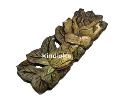 画像1: おしぼり皿 バラ 朴材