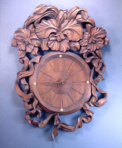 画像1: 針時計 カトレアとリボン