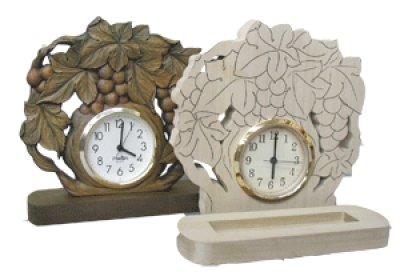 画像1: 置き時計 ぶどう (台付き) 朴材