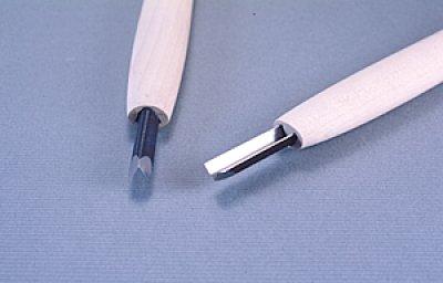 画像1: 彫刻刀安来鋼super 底丸三角型4.5mm