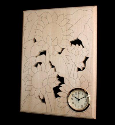画像1: おしゃれ時計 ひまわり四輪 朴材