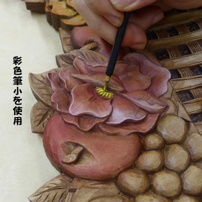 画像: 掛け鏡 フルーツにバラ バスケット